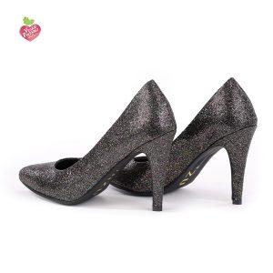 דגם המפטונס: נעלי עקב טבעוניות בצבע שחור נצנץ - MIZU