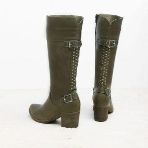 דגם עמליה: מגפיים לנשים בצבע ירוק זית- B.unique