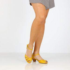דגם אביטל: סנדלי עקב בצבע צהוב - B.unique