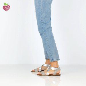 דגם לילך: סנדלים טבעוניים בצבע אפור - MIZU