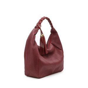 דגם גבריאלה: תיק צד גדול לנשים בצבע בורדו