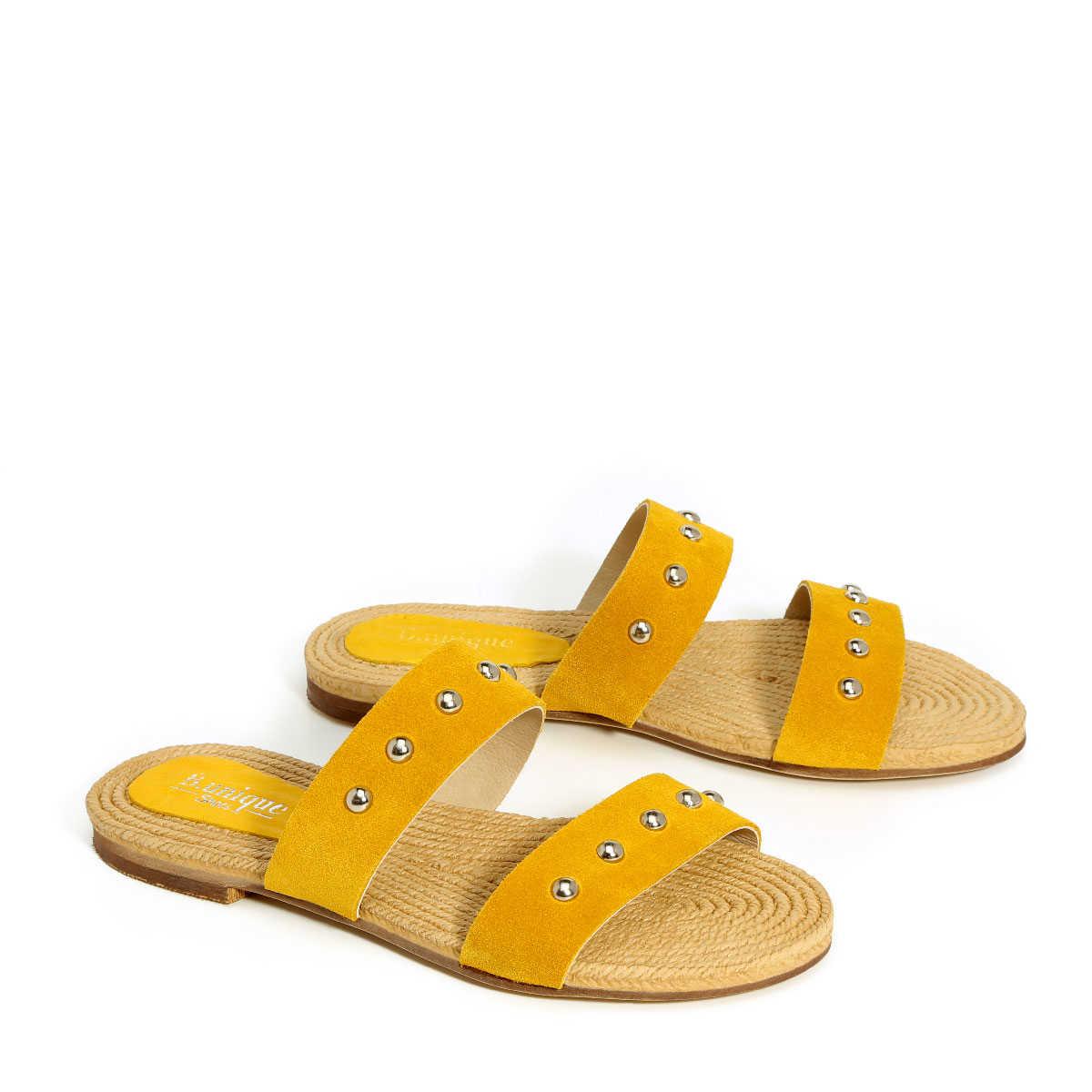 בלעדי לאתר - דגם קורל: כפכפים בצבע צהוב