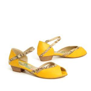 דגם רעות: סנדלי עקב בצבע צהוב - B.unique