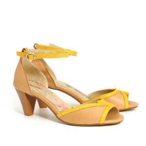בלעדי לאתר - דגם אושרת: נעלי עקב בצבע קאמל וצהוב - B.unique