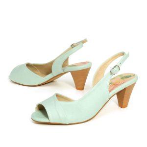 בלעדי לאתר - דגם מירי: נעלי עקב בצבע מנטה - B.unique
