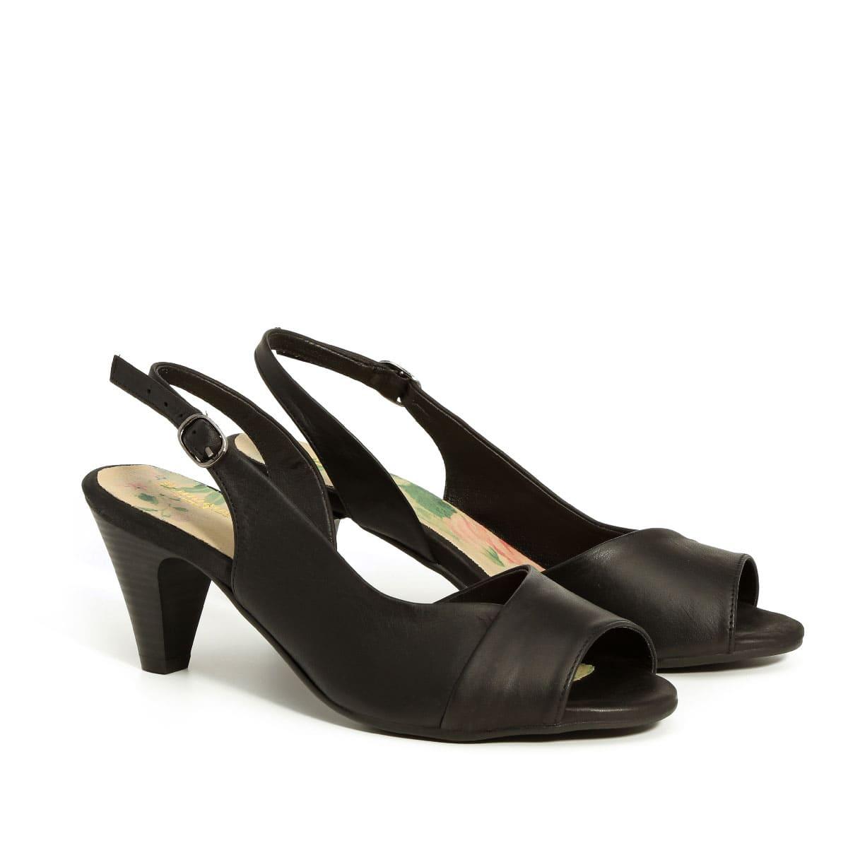 בלעדי לאתר - דגם מירי: נעלי עקב בצבע שחור