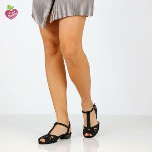 דגם לינור: סנדלים טבעוניים בצבע שחור - MIZU