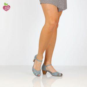בלעדי לאתר - דגם נעמה: סנדלי עקב טבעוניים בצבע ג'ינס - MIZU