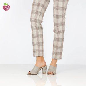 דגם קים: נעלי עקב טבעוניות בצבע אפור - MIZU