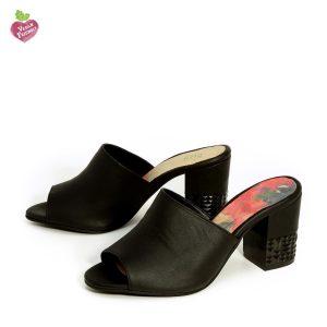 דגם קים: נעלי עקב טבעוניות בצבע שחור - MIZU