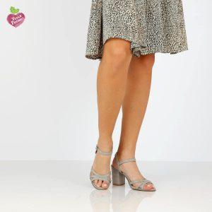 דגם שרית: נעלי עקב טבעוניות בצבע אפור - MIZU