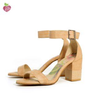 דגם מורין: נעלי עקב טבעוניות בצבע טאופ - MIZU