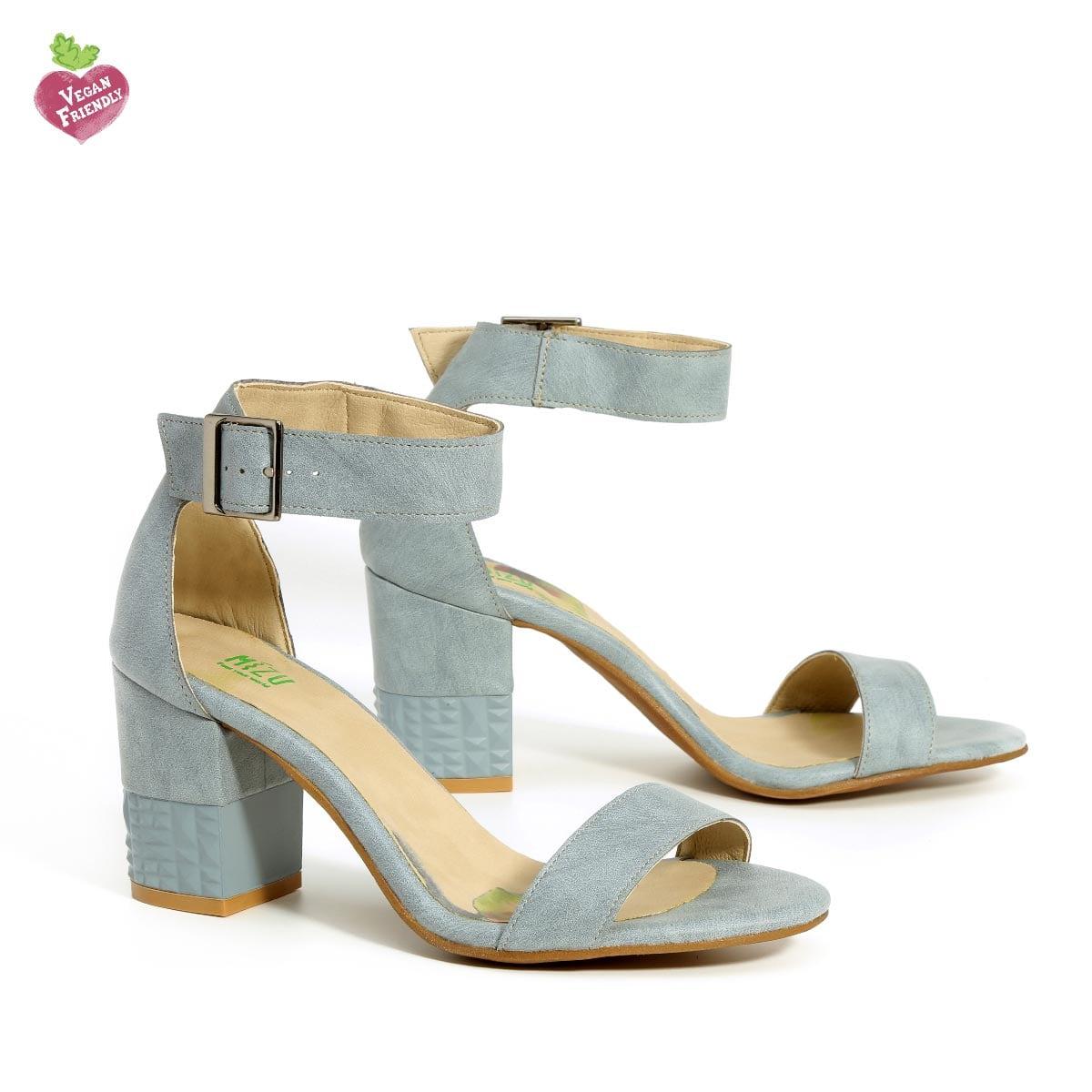 דגם מורין: נעלי עקב טבעוניות בצבע ג'ינס