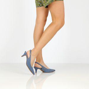 דגם אן: נעלי עקב בצבע ג'ינס - Rebecca Ashley
