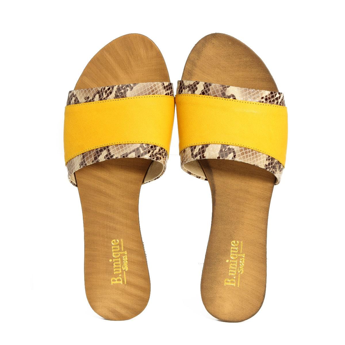 בלעדי לאתר - דגם ליהי: כפכפים בצבע צהוב