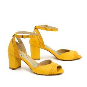 דגם דורין: סנדלי עקב בצבע צהוב - B.unique