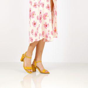 בלעדי לאתר - דגם רינת: נעלי עקב בצבע צהוב - B.unique