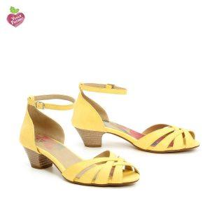 דגם אדווה: סנדלי עקב טבעוניים בצבע צהוב - MIZU