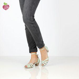 דגם אדווה: סנדלי עקב טבעוניים בצבע מנטה - MIZU