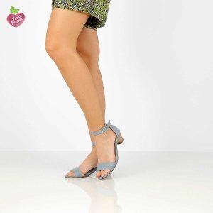 דגם חני: סנדלי עקב טבעוניים בצבע ג'ינס - MIZU