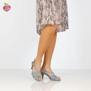 דגם איילת: סנדלי עקב טבעוניים בצבע ג'ינס - MIZU