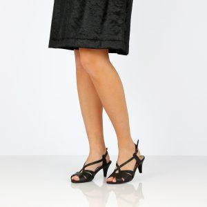 דגם איילת: סנדלי עקב טבעוניים בצבע שחור - MIZU