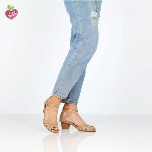 דגם יפעת: נעלי עקב טבעוניות בצבע טאופ - MIZU