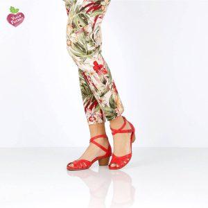 דגם יפעת: נעלי עקב טבעוניות בצבע אדום - MIZU