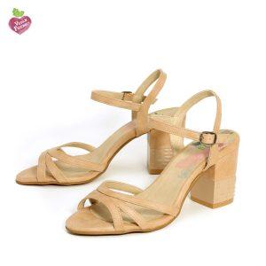 דגם שרית: נעלי עקב טבעוניות בצבע טאופ - MIZU