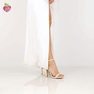 דגם אילנה: נעלי עקב טבעוניות בצבע שמנת נצנץ - MIZU