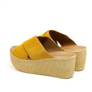 דגם משי: נעלי פלטפורמה בצבע חרדל - B.unique