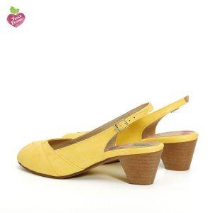 בלעדי לאתר - דגם ירדן: נעלי עקב טבעוניות בצבע צהוב - MIZU