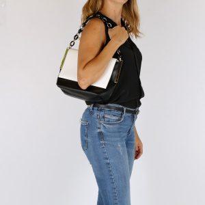 דגם אמיליה: תיק צד לנשים, בצבע שחור ולבן
