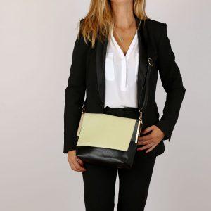 דגם אמיליה: תיק צד לנשים, בצבע שחור וירוק
