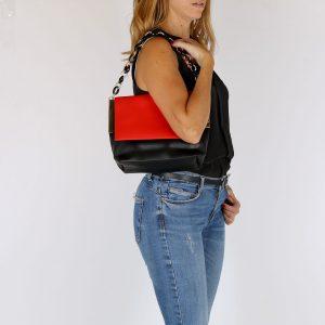 דגם אמיליה: תיק צד לנשים, בצבע שחור ואדום