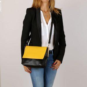 דגם אמיליה: תיק צד לנשים, בצבע שחור וצהוב