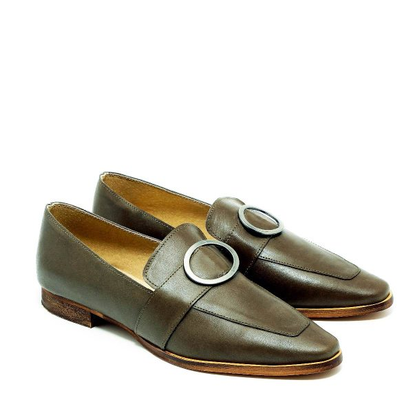 דגם אלכס: נעלי מוקסין בצבע ירוק זית - B.unique