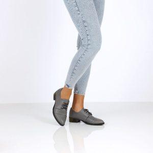 בלעדי לאתר - דגם אלונה: נעלי אוקספורד בצבע אפור - B.unique