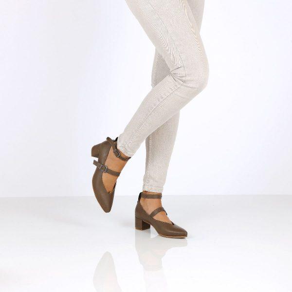 דגם היילי: נעלי עקב בצבע ירוק זית - B.unique