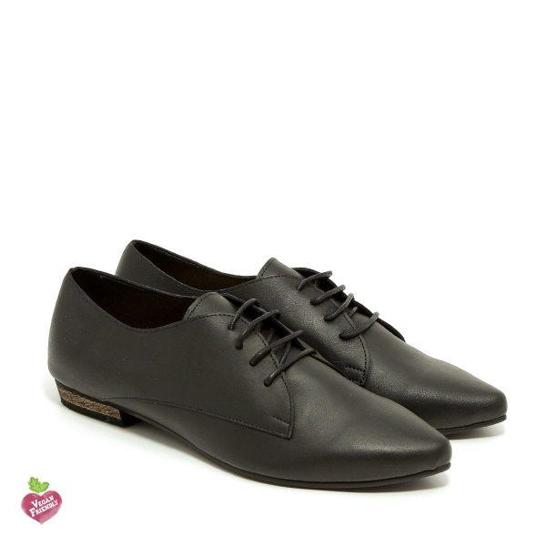 דגם פנלופה: נעלי אוקספורד טבעוניות בצבע שחור - MIZU