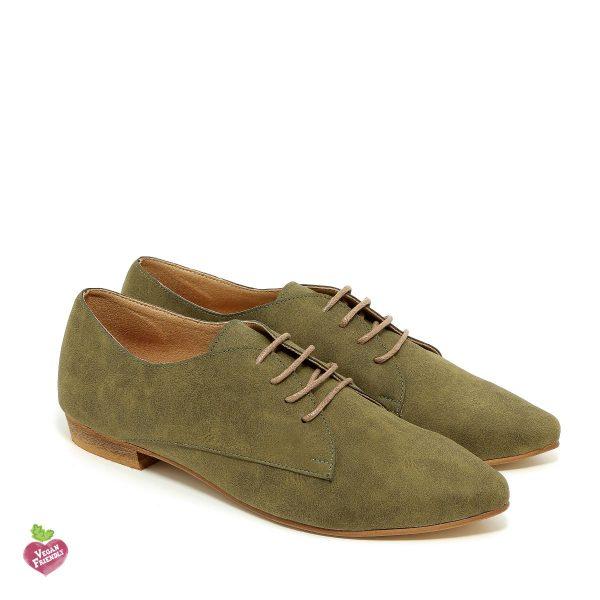 דגם פנלופה: נעלי אוקספורד טבעוניות בצבע ירוק זית - MIZU