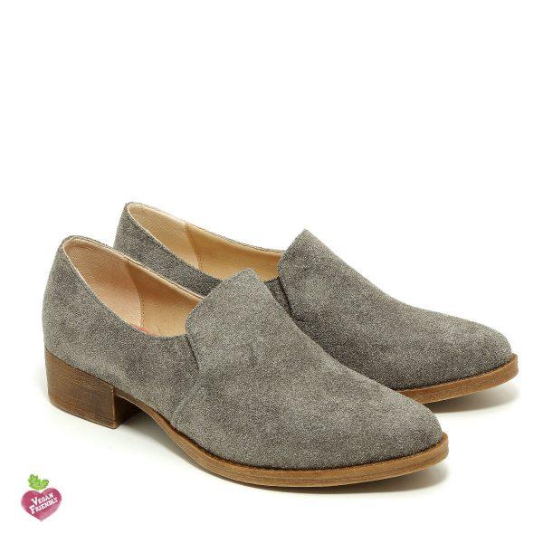 דגם ואלרי: נעלי מוקסין טבעוניות בצבע אפור - MIZU