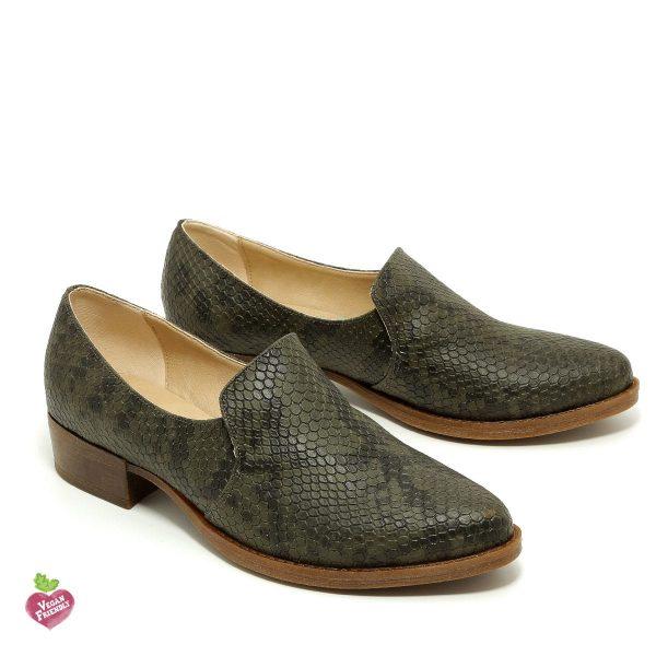 דגם ואלרי: נעלי מוקסין טבעוניות בצבע ירוק זית - MIZU
