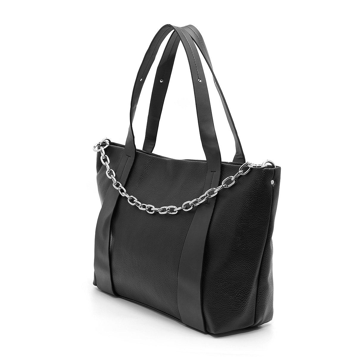 דגם לין: תיק צד גדול לנשים בצבע שחור