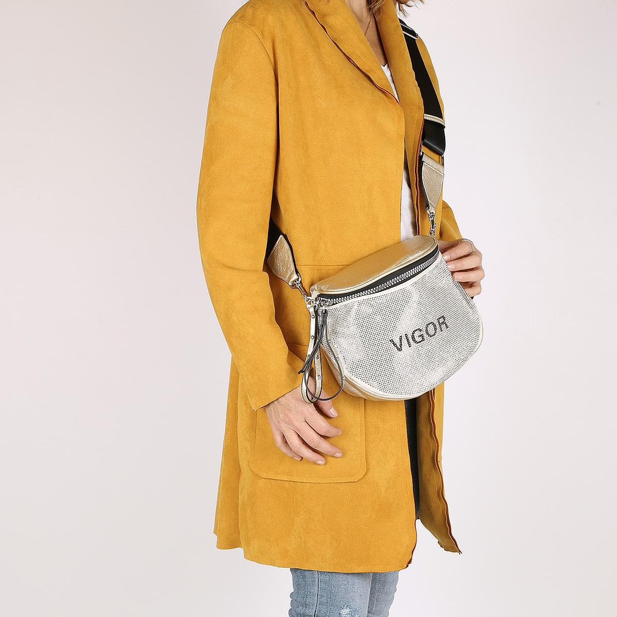 דגם לימי: תיק פאוץ' לנשים בצבע זהב