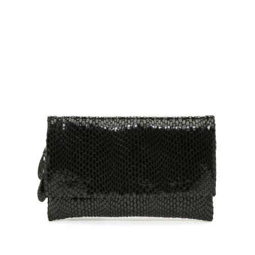 דגם עומר: תיק צד/ארנק עור לנשים בצבע שחור