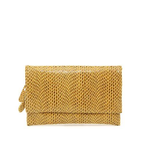 דגם עומר: תיק צד/ארנק עור לנשים בצבע צהוב