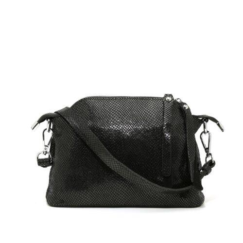 דגם קאמי: תיק צד לנשים מעור בצבע שחור