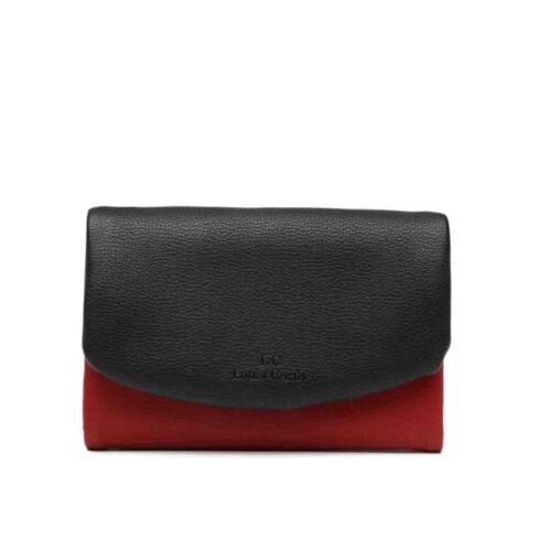 דגם דניאלה: ארנק לנשים בשילוב צבעים שחור ואדום