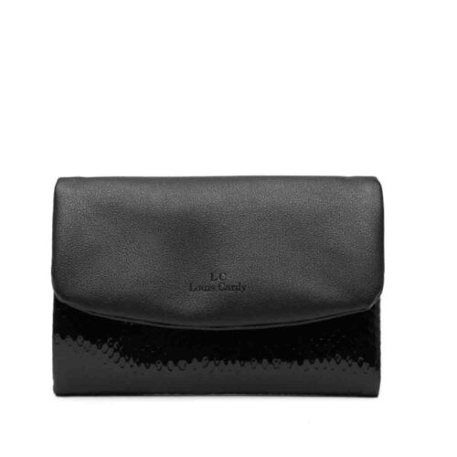 דגם יובל: ארנק לנשים בצבע שחור לק ומנחוש